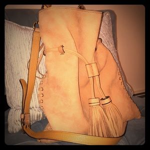 Rebecca Minkoff suede crossbody bucket bag